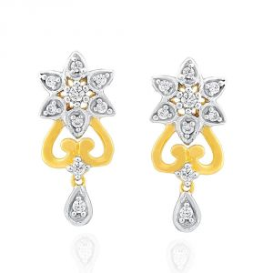 Surat Tex,Soie,Jagdamba,Sangini,Jpearls,Lime Women's Clothing - Sangini Yellow Gold Diamond Earrings ADE01432SI-JK18Y