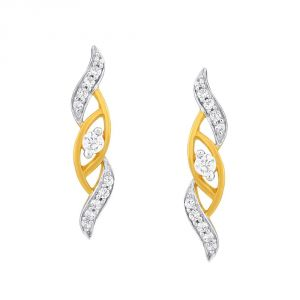 Hoop,Asmi,Kalazone,Unimod,Jpearls Diamond Jewellery - Asmi Yellow Gold Diamond Earrings APSE0468SI-JK18Y