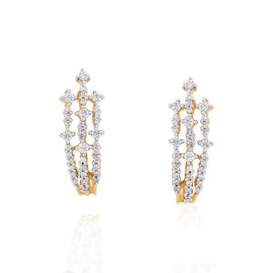 Unimod,Kiara,Oviya,Bikaw,Sangini,Kaamastra,Jagdamba Women's Clothing - Sangini Yellow Gold Diamond Earrings APSE8062SI-JK18Y