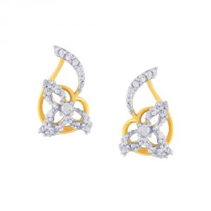 Jagdamba,Surat Diamonds,Valentine,Jharjhar,Asmi,Tng,Cloe,Flora,Kiara Women's Clothing - Asmi Yellow Gold Diamond Earrings BAEP084SI-JK18Y