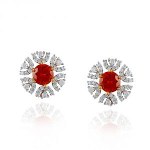 Triveni,Platinum,Port,Kalazone,See More,Parineeta,Hoop Women's Clothing - Parineeta Yellow Gold Diamond Earrings BAEP330SI-JK18Y