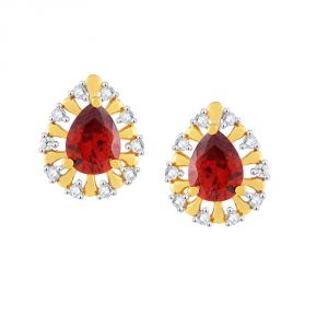 Hoop,Shonaya,Parineeta,Kaamastra Women's Clothing - Parineeta Yellow Gold Diamond Earrings BAEP407SI-JK18Y