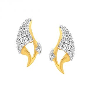 Lime,Surat Tex,Soie,Jagdamba,Sangini,Triveni,Oviya,Bikaw,Estoss Women's Clothing - Sangini Yellow Gold Diamond Earrings BAEP452SI-JK18Y