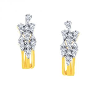 Lime,Surat Tex,Soie,Jagdamba,Sangini,Triveni,Oviya,The Jewelbox Diamond Jewellery - Sangini Yellow Gold Diamond Earrings DE854SI-JK18Y