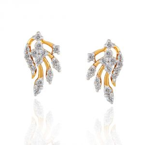 Surat Tex,Avsar,Kaamastra,Hoop,Asmi,Bikaw Women's Clothing - Asmi Yellow Gold Diamond Earrings EE510SI-JK18Y