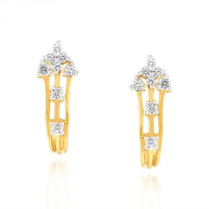 Hoop,Shonaya,Arpera,Tng,Sangini Diamond Jewellery - Sangini Yellow Gold Diamond Earrings EE559SI-JK18Y