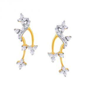 Hoop,Asmi,Kalazone,Unimod Women's Clothing - Asmi Yellow Gold Diamond Earrings FE219SI-JK18Y