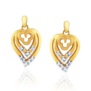 Vipul,Port,Fasense,Triveni,Jagdamba,Sangini,Cloe Women's Clothing - Sangini Yellow Gold Diamond Earrings IDE00530SI-JK18Y