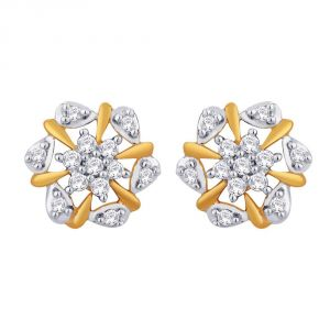 Triveni,My Pac,Sangini,Kiara,Surat Diamonds Women's Clothing - Sangini Yellow Gold Diamond Earrings IDE00662SI-JK18Y