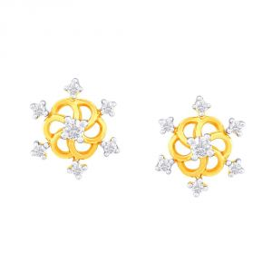 La Intimo,Shonaya,Sangini,Unimod,Lime,Bikaw,Sukkhi Diamond Jewellery - Sangini Yellow Gold Diamond Earrings NERA266SI-JK18Y