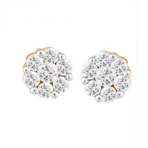 Nirvana Yellow Gold Diamond Earrings Nerb038si-jk18y
