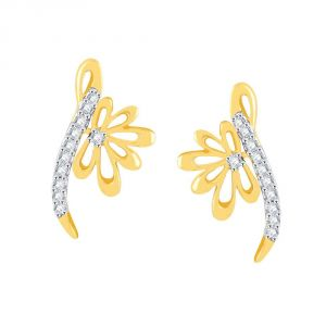 Soie,Flora,Oviya,Asmi,Estoss Women's Clothing - Asmi Yellow Gold Diamond Earrings PE10500SI-JK18Y