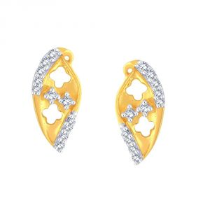 Hoop,Shonaya,Tng,Sangini,Bikaw,Jharjhar Women's Clothing - Sangini Yellow Gold Diamond Earrings PE11250SI-JK18Y