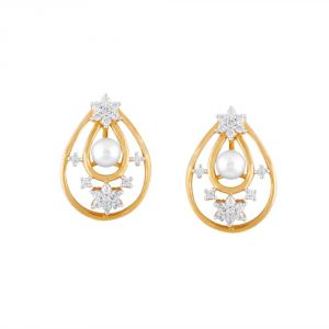 Asmi,Jpearls,N gal,Estoss Women's Clothing - Asmi Yellow Gold Diamond Earrings PE11881SI-JK18Y
