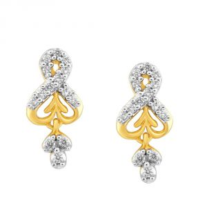 Kiara,Sukkhi,Jharjhar,Fasense,Kalazone,Asmi,Surat Tex Women's Clothing - Asmi Yellow Gold Diamond Earrings PE12238SI-JK18Y