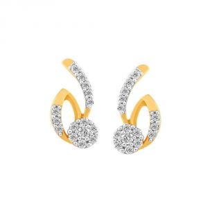 Triveni,Jagdamba,Asmi,Kalazone Women's Clothing - Asmi Yellow Gold Diamond Earrings PE12372SI-JK18Y