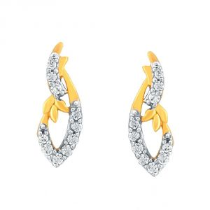 Asmi Yellow Gold Diamond Earrings Pe12737si-jk18y