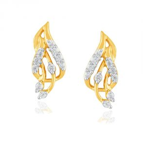Hoop,Shonaya,Tng,Sangini,Mahi Women's Clothing - Sangini Yellow Gold Diamond Earrings PE13015SI-JK18Y