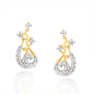 Lime,Surat Tex,Soie,Jagdamba,Sangini Women's Clothing - Sangini Yellow Gold Diamond Earrings PE13164SI-JK18Y