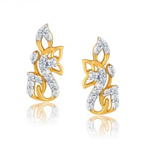Lime,Surat Tex,Soie,Jagdamba,Sangini,Triveni,Oviya,The Jewelbox Diamond Jewellery - Sangini Yellow Gold Diamond Earrings PE13525SI-JK18Y