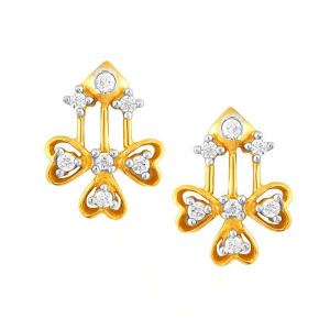 Hoop,Shonaya,Tng,Sangini,Mahi Women's Clothing - Sangini Yellow Gold Diamond Earrings PE13620SI-JK18Y