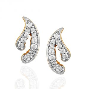 Hoop,Asmi,Kalazone,Tng,Lime Women's Clothing - Asmi Yellow Gold Diamond Earrings PE13656SI-JK18Y
