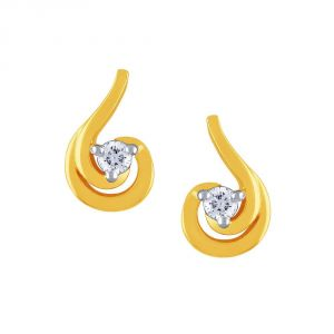 Lime,Surat Tex,Soie,Diya,See More Diamond Jewellery - Diya Yellow Gold Diamond Earrings PE14254SI-JK18Y