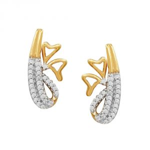 Surat Tex,Avsar,Kaamastra,Hoop,Asmi,Bikaw Women's Clothing - Asmi Yellow Gold Diamond Earrings PE17260SI-JK18Y