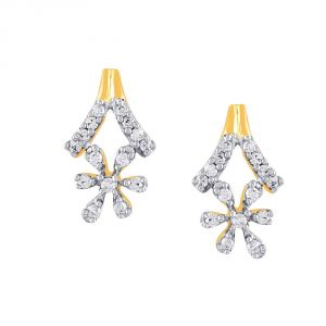 Sangini Yellow Gold Diamond Earrings Pe17401si-jk18y