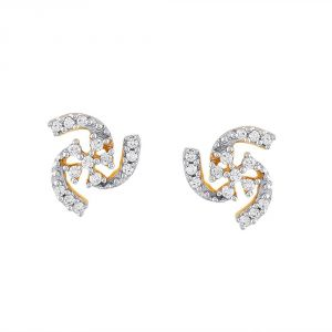 Asmi,Sukkhi,Triveni,Surat Tex Diamond Jewellery - Asmi Yellow Gold Diamond Earrings PE17493SI-JK18Y