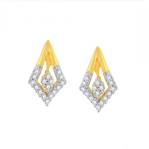 Hoop,Shonaya,Tng,Sangini,Mahi Women's Clothing - Sangini Yellow Gold Diamond Earrings PE17509SI-JK18Y