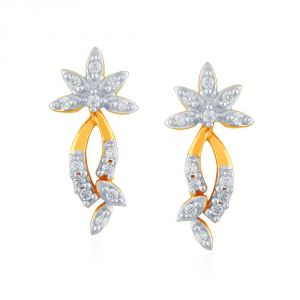 Hoop,Shonaya,Soie,Vipul,Kalazone,La Intimo,Sangini,Gili Women's Clothing - Sangini Yellow Gold Diamond Earrings PE17767SI-JK18Y