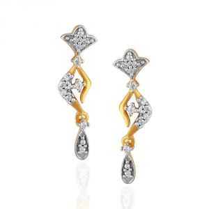 Hoop,Shonaya,Arpera,Tng,Sangini Diamond Jewellery - Sangini Yellow Gold Diamond Earrings PE17816SI-JK18Y