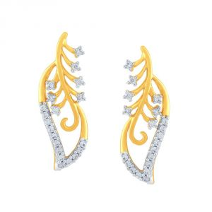 Hoop,Asmi,Kalazone,Tng Women's Clothing - Asmi Yellow Gold Diamond Earrings PE18107SI-JK18Y