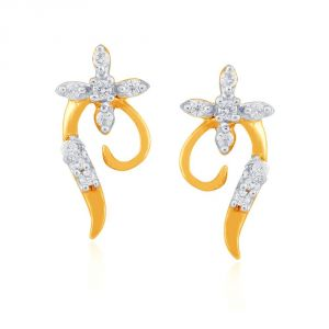 Triveni,Platinum,Jagdamba,Flora,Bagforever,The Jewelbox,Shonaya,Asmi Women's Clothing - Asmi Yellow Gold Diamond Earrings PE18812SI-JK18Y