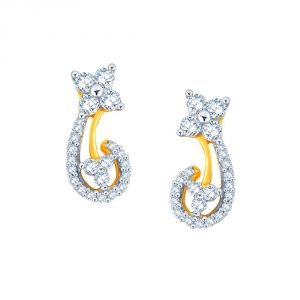 Hoop,Asmi,Kalazone,Tng,Lime Women's Clothing - Asmi Yellow Gold Diamond Earrings PE20666SI-JK18Y