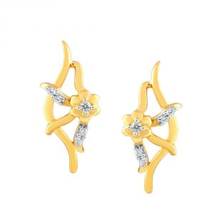 Lime,Surat Tex,Soie,Jagdamba,Sangini Women's Clothing - Sangini Yellow Gold Diamond Earrings PE20915SI-JK18Y