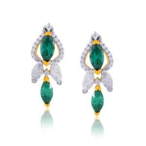 Triveni,Platinum,Port,Kalazone,See More,Parineeta,Hoop Women's Clothing - Parineeta Yellow Gold Diamond Earrings PE23557SI-JK18Y