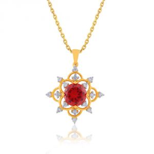 Triveni,Platinum,Port,Mahi,Tng,Parineeta Women's Clothing - Parineeta Yellow Gold Diamond Pendant BAP333SI-JK18Y