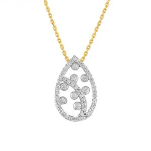 La Intimo,Shonaya,Sangini Women's Clothing - Sangini Yellow Gold Diamond Pendant DDP20903SI-JK18Y