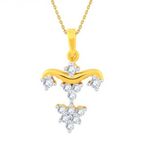Hoop,Shonaya,Tng,Sangini,Ag Women's Clothing - Sangini Yellow Gold Diamond Pendant EP687SI-JK18Y