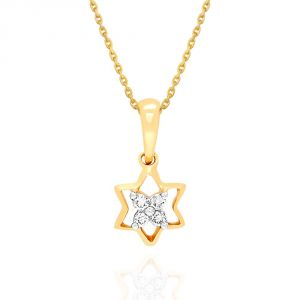 Asmi,Sukkhi,Triveni,Surat Tex,See More,Flora Women's Clothing - Asmi Yellow Gold Diamond Pendant NPC569SI-JK18Y