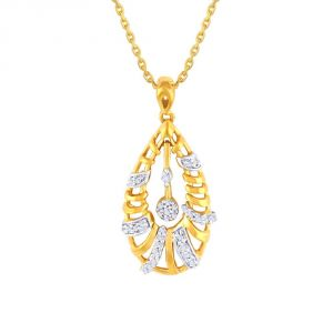 Lime,Surat Tex,Soie,Jagdamba,Sangini,Triveni,Oviya,Bikaw,Estoss Women's Clothing - Sangini Yellow Gold Diamond Pendant OP702SI-JK18Y