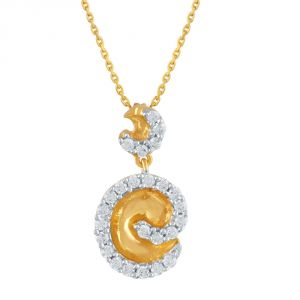 Hoop,Asmi,Kalazone,Unimod Women's Clothing - Asmi Yellow Gold Diamond Pendant PP12174SI-JK18Y