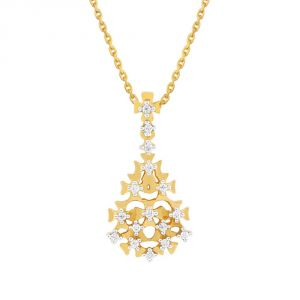 Jagdamba,Surat Diamonds,Valentine,Jharjhar,Asmi,Oviya,Jpearls Women's Clothing - Asmi Yellow Gold Diamond Pendant PP13098SI-JK18Y