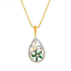 Triveni,Pick Pocket,Parineeta,Mahi,Bagforever,Jagdamba,Oviya,Sinina Women's Clothing - Parineeta Yellow Gold Diamond Pendant PRAN1P4022SI-JK18Y