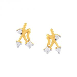 Hoop,Unimod,Clovia,Sukkhi,Tng,Diya,Triveni,Lime Women's Clothing - Diya Yellow Gold Diamond Earrings CE001SI-JK18Y