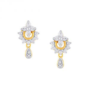 Surat Tex,Soie,Jagdamba,Sangini,Jpearls,Lime Women's Clothing - Sangini Yellow Gold Diamond Earrings CE967SI-JK18Y