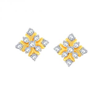 Triveni,My Pac,Sangini,Kiara,Estoss,Bagforever Women's Clothing - Sangini Yellow Gold Diamond Earrings CE983SI-JK18Y