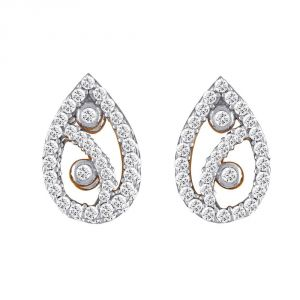 Hoop,Asmi,Kalazone,Unimod,Jpearls Diamond Jewellery - Asmi Yellow Gold Diamond Earrings DDE15541SI-JK18Y